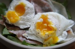 Poached Eggs over Prosciutto and Dressed Arugula